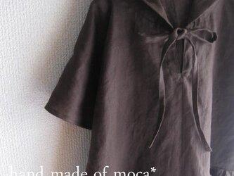【受注製作/10.5再販売】W45半袖リネン前リボンフード付きワンピース★濃茶の画像