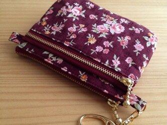 お札も入る多機能コインケース ピンク小花の画像