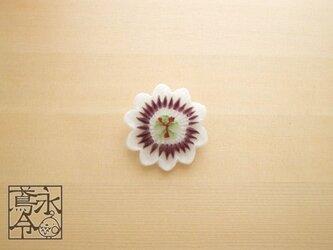 ブローチ 紫色ひげの時計草の画像