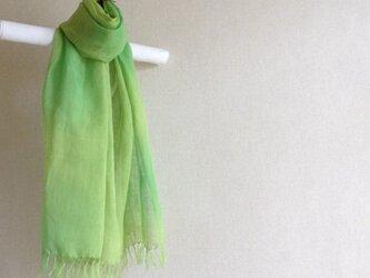 手染めリネンストール green green丸ぼかしの画像