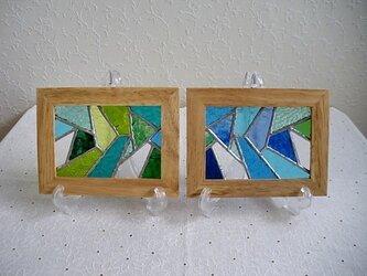 幾何学模様ステンドグラスのパネルセット(グリーン×ブルー)の画像
