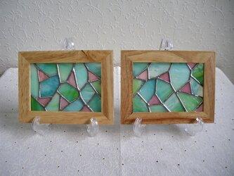 ステンドグラスのパネルセット(グリーン×ピンク)の画像