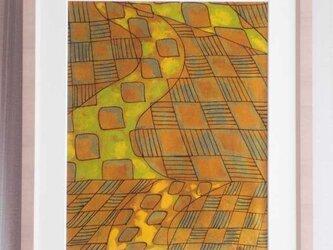縮緬染布による作品(No.001)の画像