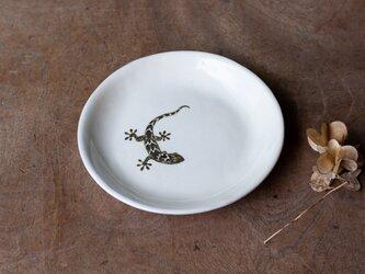 粉引丸皿(やもり)【クリックポスト198円可】の画像
