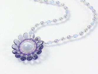 紫の花ネックレス・淡水パールの画像
