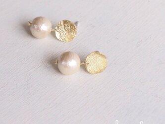 【再販】− BR − Gold Circle ピアス w/ Pearlの画像