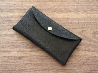 イタリア製牛革のコンパクトな長財布 / ブラック※受注製作の画像