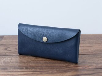 イタリア製牛革のコンパクトな長財布 / ネイビー※受注製作の画像