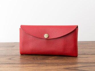 イタリア製牛革のコンパクトな長財布 / レッド※受注製作の画像