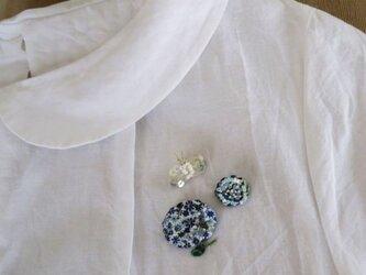Ortensia&Papillonブローチ(Blue)受注製作の画像