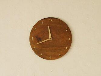 掛け時計 丸 チーク材の画像