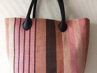 手織 麻布の手提げバッグ ピンク縦縞の画像