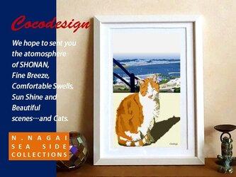 湘南 陽だまりの猫 その3 ぽかぽか茶トラ猫  額装付きの画像