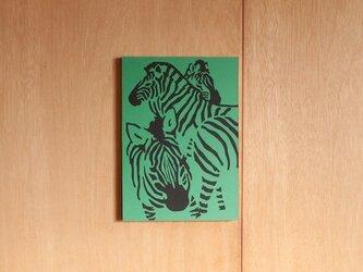 切り絵『シマウマ 緑』A4サイズの画像