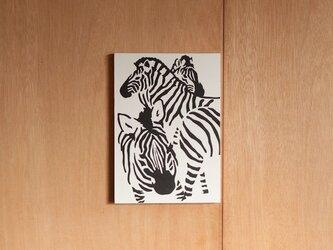 切り絵『シマウマ 白』A4サイズの画像