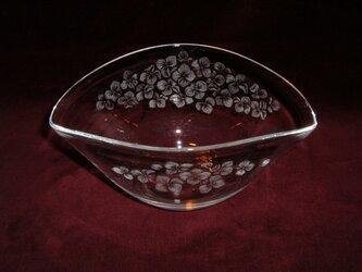 紫陽花のガラス鉢 ~手彫りガラス~の画像