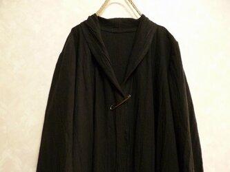 ご注文受付 サイズ指定製作 コットンリネン シワ加工 ロングカーディガン コート 黒 綿麻 ショールカラーの画像