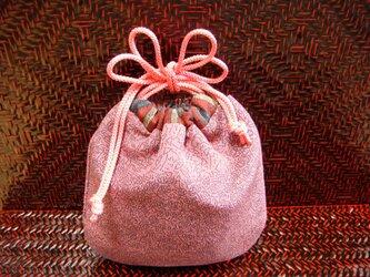 小さな絹の巾着 渋ピンクの江戸小紋の画像