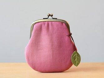 引染ぼかし 洋なし型麻がま口 ピンクの画像