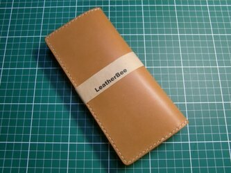 シンプルな本革サドルレザーの長財布(茶)の画像