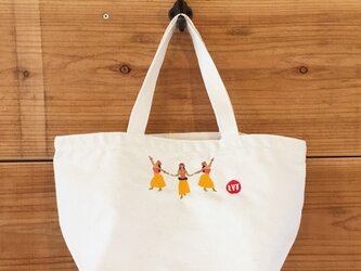 HULAイエロー 刺繍 キャンバストートの画像