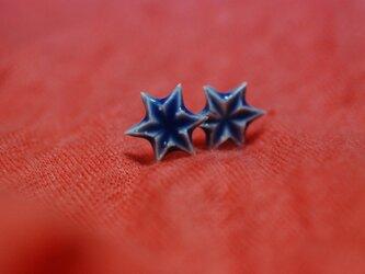 六角星 ピアス/青の画像