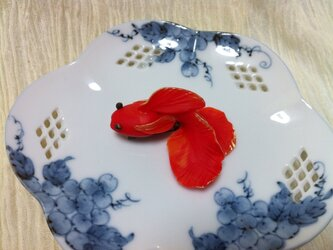 緋色金魚のブローチの画像