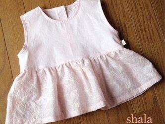 ピンクの綿レースのワンピース&ブルマ(80cm)の画像
