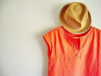 リネンカフタンワンピース フレンチスリーブ さんご(コーラルオレンジ)の画像