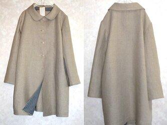 【オーダー要相談】こだわりの一着 リネン100亜麻色の丸襟コートの画像