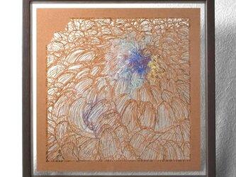 切り絵 菊 二枚重ね額縁 透明背景 日本画顔料 茶の渋紙の画像