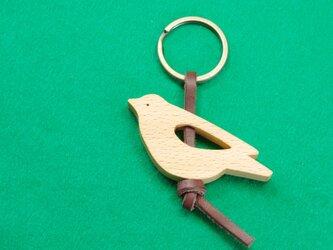 イワヒバリ  木のキーリングの画像