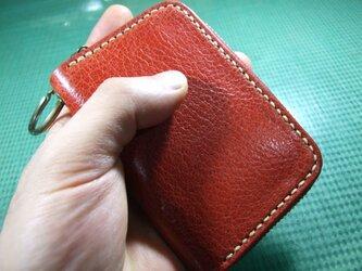 カードキーも入るファスナーキーケース  赤にベージュステッチの画像