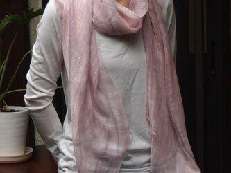 国産シルク100%手描き染めストール -PinkL1-の画像