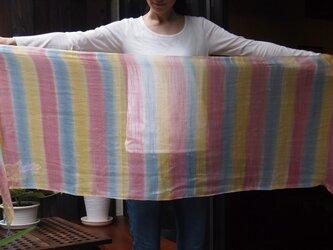 国産シルク100%手描き染めストール -rainbow1-の画像