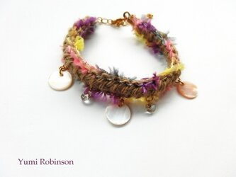 SALE麻と変わり糸のブレスレットtropical islandの画像