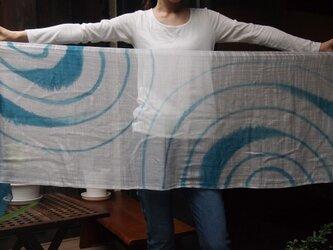 国産シルク100%手描き染めストール -uzu1-の画像