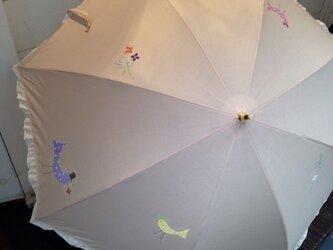 手描き日傘(晴雨兼用)  ドットの鳥の画像