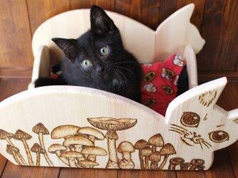 木製仔猫用ベッド(ウッドバーニング) 13.CATS.WORKSの画像