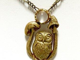 妖精詩集/フクロウの夜(フクロウ+キノコ+天然石:真鍮製)の画像