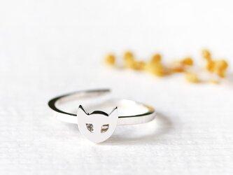 プチ 猫顔 アニマル リング 指輪 シルバー925の画像