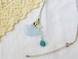 アロマペンダント ガラス香水瓶ハート水色フロスト天然石 海の雫の画像