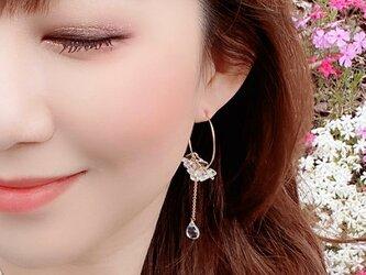 宝石・天然石ブルートパーズ 水晶 ピアス Lady ice blue earrings P0042の画像