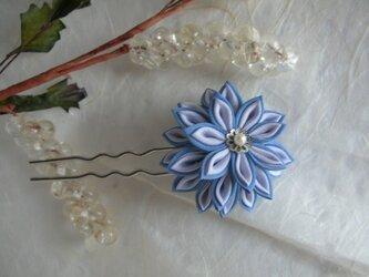 剣菊のかんざし blue 【つまみ細工】の画像