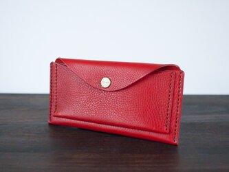 イタリア製牛革のスリムな長財布 / レッド ※受注製作の画像