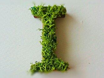 アルファベット オブジェ(モス) 木製『I』×1点の画像