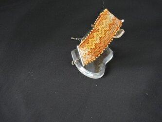 ビーズ織【じぐざぐブレスレット】オレンジ・ピコット付の画像