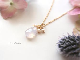 紫陽花クォーツのチャームネックレス * 14Kgfの画像
