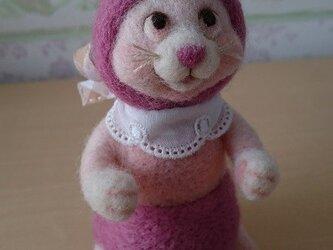 羊毛フェルト・桃色うさちゃんの画像