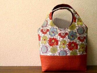 ★リバティプリント★花柄のミニバッグ オレンジの画像